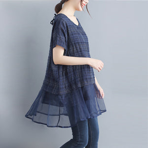 stylish plaid grid cotton linen tops trendy plus size holiday tops elegant o neck Batwing Sleeve patchwork midi tops