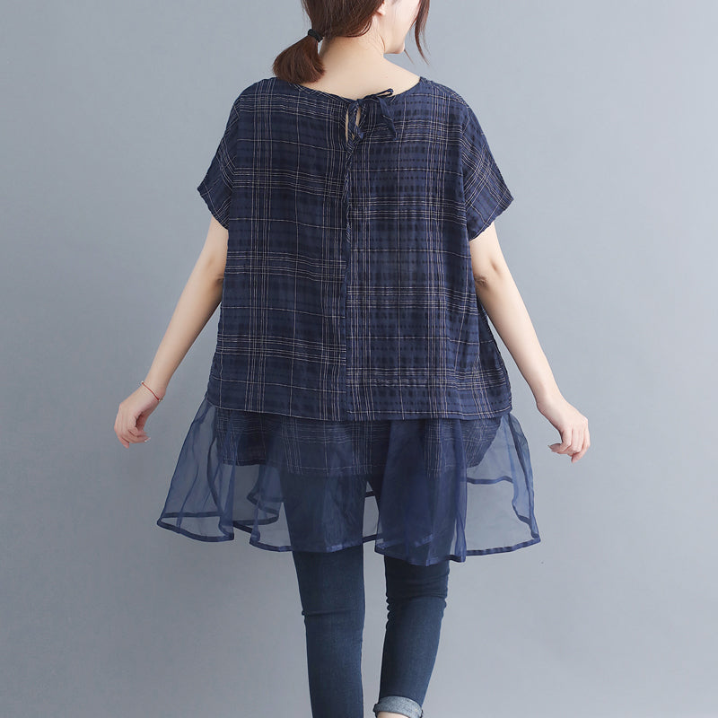 a395b11e95 ... Load image into Gallery viewer, stylish plaid grid cotton linen tops  trendy plus size holiday ...