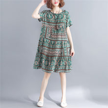 Load image into Gallery viewer, stylish print cotton linen dresses plus size short sleeve baggy dresses Fine o neck cotton linen dresses