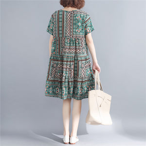 stylish print cotton linen dresses plus size short sleeve baggy dresses Fine o neck cotton linen dresses
