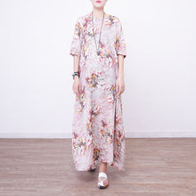 Load image into Gallery viewer, stylish prints linen maxi dress oversized o neck traveling clothing New half sleeve maxi dresses