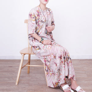 stylish prints linen maxi dress oversized o neck traveling clothing New half sleeve maxi dresses
