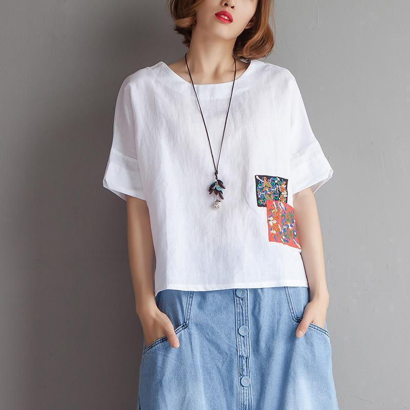 stylish pure cotton linen blouse oversized Embroidery High-low Hem Summer Short Sleeve White Blouse