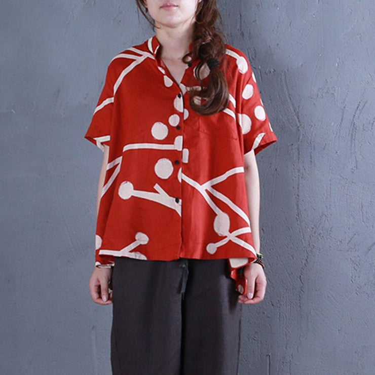 stylish pure linen tops oversized Stand Collar Printed Single Breasted Red Blouse