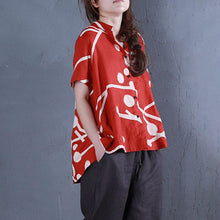 Load image into Gallery viewer, stylish pure linen tops oversized Stand Collar Printed Single Breasted Red Blouse