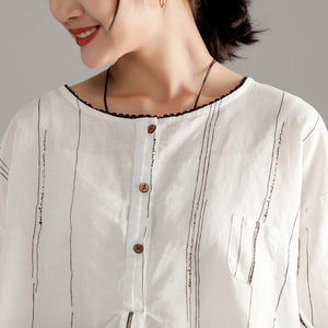 stylish pure linen tops plus size Round Neck Half Sleeve Stripe Pullover Blouse