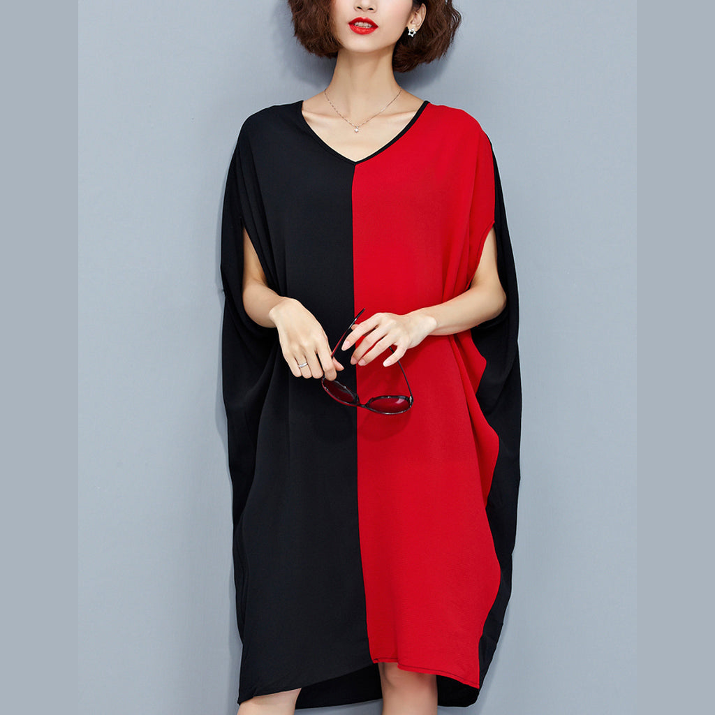 stylish red black patchwork chiffon polyester dresses trendy plus size traveling clothing fine batwing sleeve clothing