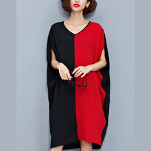 Load image into Gallery viewer, stylish red black patchwork chiffon polyester dresses trendy plus size traveling clothing top quality batwing sleeve clothing