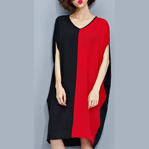 stylish red black patchwork chiffon polyester dresses trendy plus size traveling clothing top quality batwing sleeve clothing