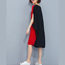 Afbeelding in Gallery-weergave laden, stylish red black patchwork chiffon polyester dresses trendy plus size traveling clothing fine batwing sleeve clothing