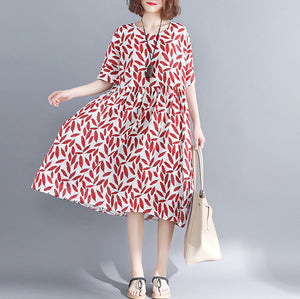 stylish red cotton knee dress casual cotton dress 2018 short sleeve baggy dresses o neck print cotton clothing dress