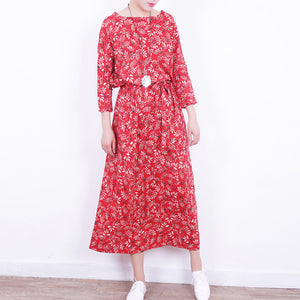 stylish red floral linen dress casual o neck caftans New tie waist maxi dresses