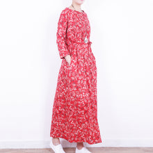 Load image into Gallery viewer, stylish red floral linen dress casual o neck caftans New tie waist maxi dresses