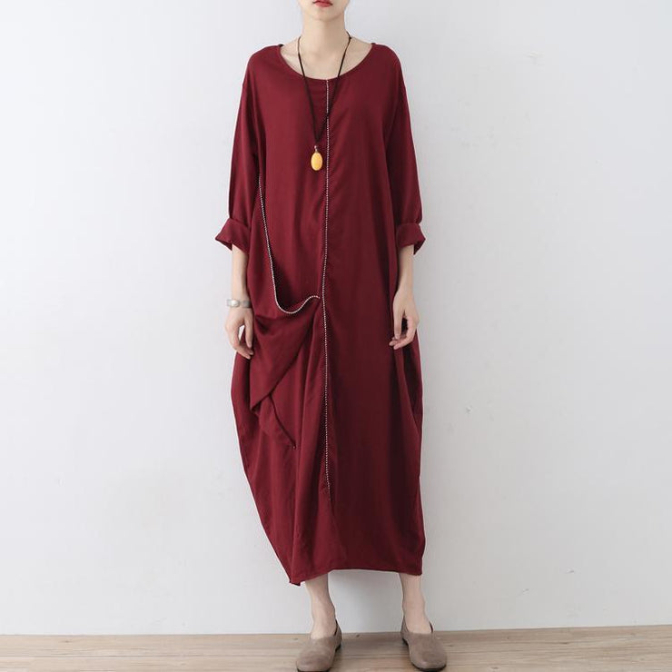 stylish red linen dress oversize asymmetrical hem traveling clothing New asymmetrical zippered kaftans