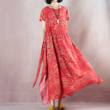 Load image into Gallery viewer, stylish red linen maxi dress casual O neck print traveling clothing women short sleeve baggy dresses linen caftans