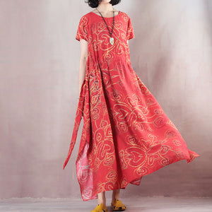 stylish red linen maxi dress casual O neck print traveling clothing women short sleeve baggy dresses linen caftans