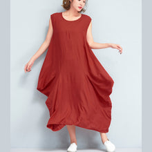 Load image into Gallery viewer, stylish red long cotton polyester dresses Loose fitting sleeveless maxi dress vintage caftans