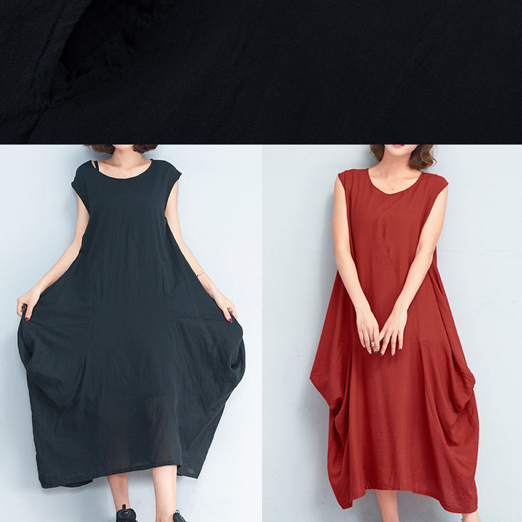 stylish red long cotton polyester dresses Loose fitting sleeveless maxi dress vintage caftans