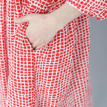 Load image into Gallery viewer, stylish red plaid cotton dresses plus size traveling clothing casual lapel collar bracelet sleeved cotton dress