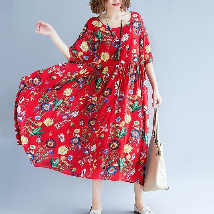 stylish red print long cotton linen dresses casual short sleeve baggy dresses gown 2018 o neck gown