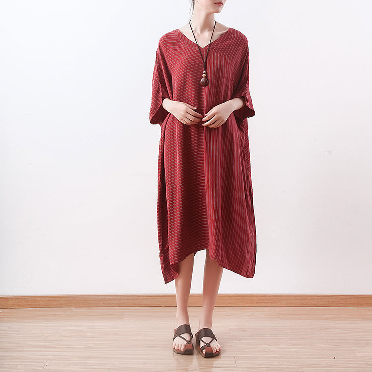 261a603442a stylish red silk dresses plus size asymmetric patchwork striped silk gown  top quality v neck silk
