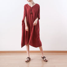Load image into Gallery viewer, stylish red silk dresses plus size asymmetric patchwork striped silk gown top quality v neck silk caftans