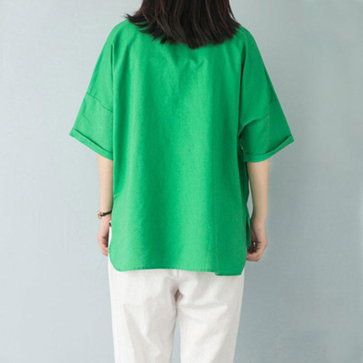 stylish summer cotton tops casual polo Collar Single Breasted 12 Sleeve Green Blouse