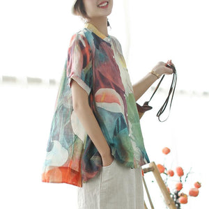stylish summer linen blended tops plus size Loose Multicolor Stand Collar Casual Women Blouse