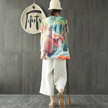Load image into Gallery viewer, stylish summer linen blended tops plus size Loose Multicolor Stand Collar Casual Women Blouse
