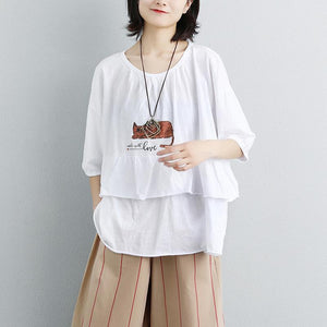 stylish summer t shirt plus size clothing Loose Women Single Breasted Polo Collar Beige Shirt