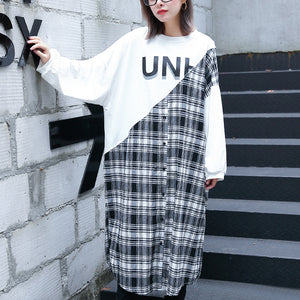stylish white Plaid patchwork cotton blended caftans oversize O neck traveling dress top quality side open baggy gown
