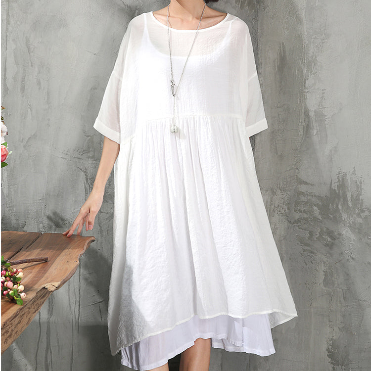 stylish white cotton dress plus size clothing cotton dress New short sleeve baggy dresses O neck cotton dress