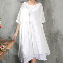 Load image into Gallery viewer, stylish white cotton dress plus size clothing cotton dress New short sleeve baggy dresses O neck cotton dress