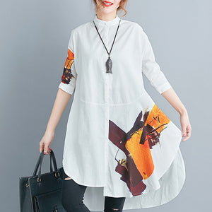 stylish white cotton linen shift plus size tops casual Half sleeve print Stand natural cotton linen tops