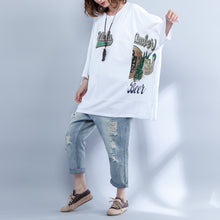 Load image into Gallery viewer, stylish white cotton waist coat plus size cotton maxi t shirts vintage print side open alf sleeve baggy tops cotton shirts