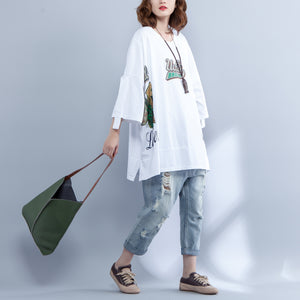 stylish white cotton waist coat plus size cotton maxi t shirts vintage print side open alf sleeve baggy tops cotton shirts