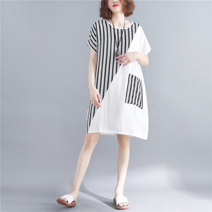 stylish white natural cotton dress oversize maxi dress women short sleeve patchwork O neck dress