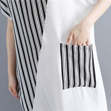 Load image into Gallery viewer, stylish white natural cotton dress oversize maxi dress women short sleeve patchwork O neck dress
