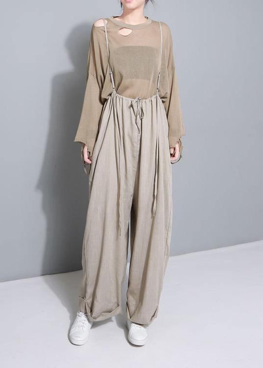 stylish women khaki cotton linen wide leg pants multiple wearing methods pants