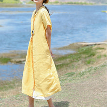 Load image into Gallery viewer, stylish yellow linen dress plus size clothing Stand drawstring linen clothing dresses Elegant short sleeve dresses