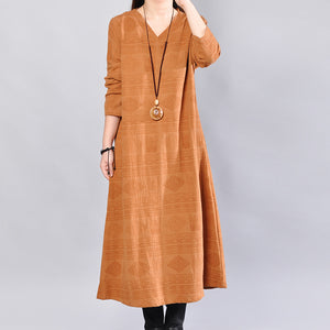 stylish yellow linen knee dress trendy plus size linen clothing dress 2018back side open v neck linen clothing dress
