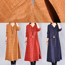 Load image into Gallery viewer, stylish yellow linen knee dress trendy plus size linen clothing dress 2018back side open v neck linen clothing dress