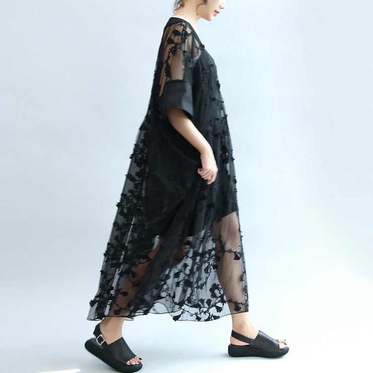 summer 2021 black embroidery lace dresses plus size maxi dress