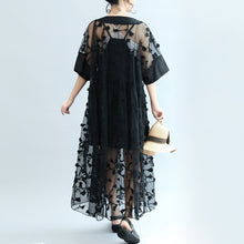Load image into Gallery viewer, summer 2017 black embroidery lace dresses plus size maxi dress