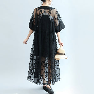 summer 2017 black embroidery lace dresses plus size maxi dress