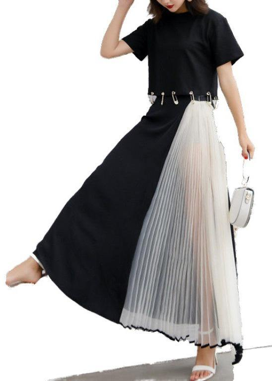 buy online first look quality design summer black chiffon casual maxi skirts women patchwork nets yarn ...