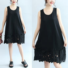 Load image into Gallery viewer, summer black stylish cotton  sundress oversize casual dresses o neck maxi dress