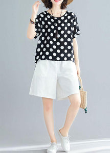 summer blended two pieces black dotted tops and white shorts