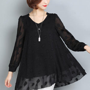 summer casual black lace t shirt loose fashion long sleeve tops