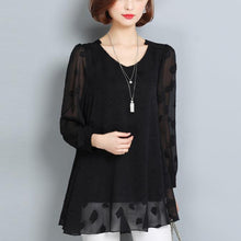 Load image into Gallery viewer, summer casual black lace t shirt loose fashion long sleeve tops